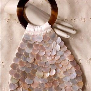 Vintage Mod Design Spun Silk Mother of Pearl Bag